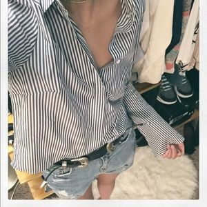 Zara Striped Button Down Blue White Flare sleeve S